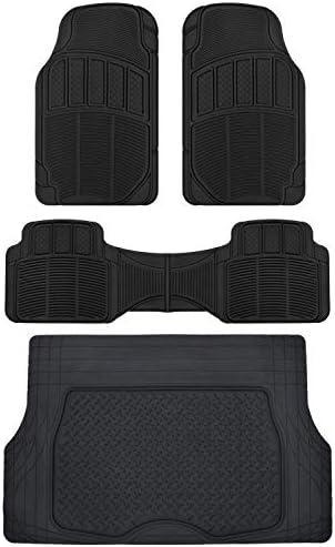 CarXS Proliners Classic Rubber Floor Mats-4pc Front & Rear+Trunk Liner Heavy Duty Diamond Grid for Car Truck SUV Van (Black)