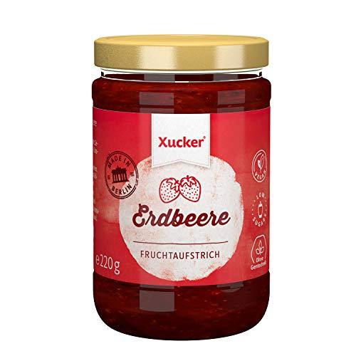 Erdbeere Fruchtaufstrich mit Xylit | Süßes Frühstück mit Xucker | Ohne Gentechnik | Vegan | zuckerarm | 220 g Glas | 74 % Fruchtanteil
