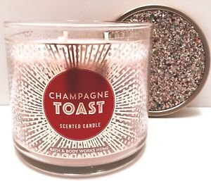 Bath and Body Works White Barn Champagne Toast 3 Wick Candle 14.5 Ounce Now Made with Essential Oils for Winter 2017 (Toast Sparkling)