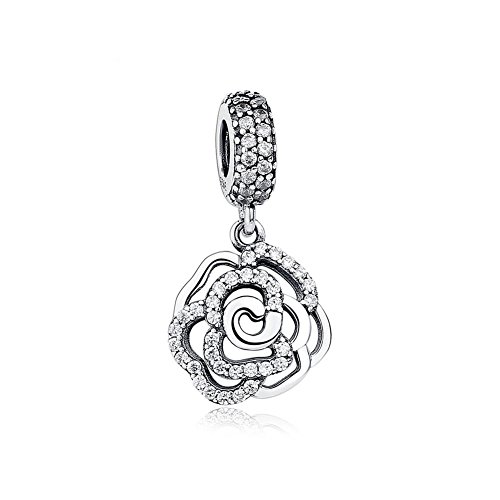 Romántico Amor Sterling Silver Shimmering Rose Dangle Charm Flower Clear CZ Bead fit Pandora - Charm Flower Silver Rose