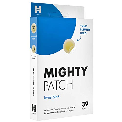 Mighty Patch Invisible Hydrocolloid Acne Pimple Patch Ultra Thin Spot Treatment (39 count) for Face and Day, Vegan, Cruelty-Free