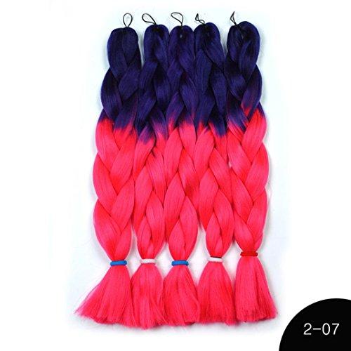 Victorcn Fiber Double Color Crochet Hair Braids Bulk Hair Braiding Hair Style Synthetic Braid (G)