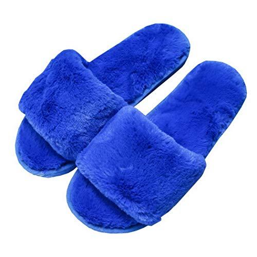 Coton Bleu En Maison Premewish La Fond Doux À Et Moelleuses Féminin Velours Automne Épaississement Hiver Pantoufles x4AZz1q