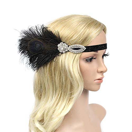 band Great Gatsby Headpiece with Feather Kentucky Derby Wedding Hair Accessories Black (Black) ()