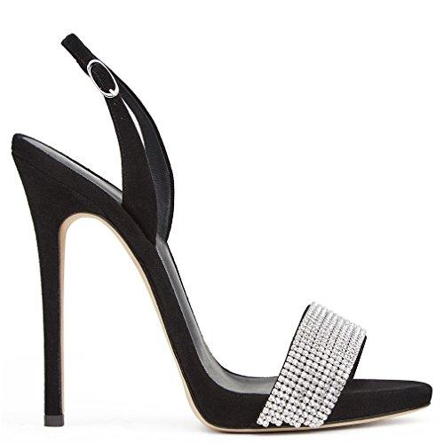 Court Hauts Lumière Filles Chaussures Femmes Creative Chaussures Nuit Stiletto Talon EU40 Parti Daim CLOVER Talons Moderne Dames Sandales LUCKY A Bar Black qzt7BHZ