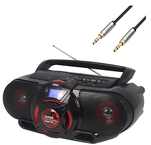 Naxa Portable Bluetooth Cassette Player/Recorder MP3/CD AM/FM Stereo Radio with Subwoofer and USB Input with Kubicle Cable Bundle Included