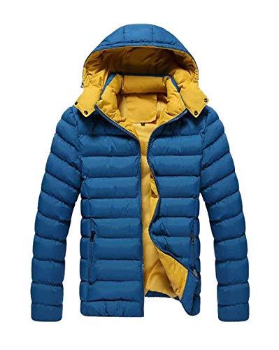 Blau Uomo Outdoor Cappotto Laterali Tasche Capispalla Da Cappuccio Con Con Giacca Abbigliamento Zip Maniche Invernale Lunghe x1qPZ