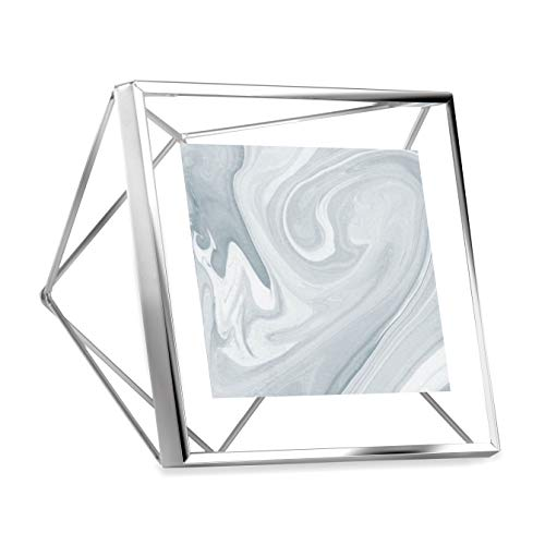Umbra Prisma Picture Frame, 4x4 Photo Display for Desk or Wall, Chrome - Molded Glass Flower