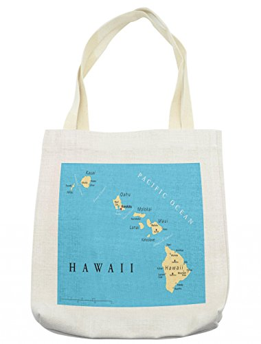 (Lunarable Hawaiian Tote Bag, Map of Hawaii Islands with Capital Honolulu Borders and Important Cities, Cloth Linen Reusable Bag for Shopping Groceries Books Beach Travel & More,)