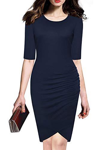 Women's Navy Blue Half Sleeve Work Business Tulip Hem Shirring Ruched Bodycon ()