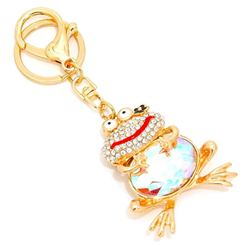 Frog Key Chain H6 Clear Pave Aurora Borealis Crystal Enamel Gold ()