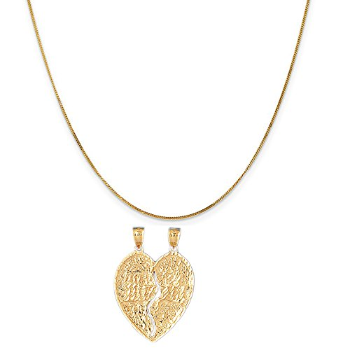 14k Yellow Gold Mizpah Pendant on a 14K Yellow Gold Curb Chain Necklace, 16'' by Eaton Creek Collection