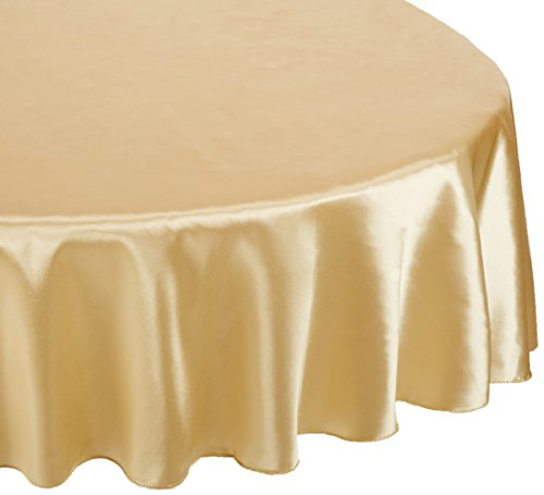 LinenTablecloth 90-Inch Satin Tablecloth, Round, (Gold Elegance Round Tablecloth)