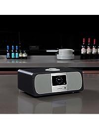 lemega M3 + Wi Fi DLNA Spotify Connect Radio por Internet Radio FM con Bluetooth y Reloj sistema de altavoces 2.1 Roble negro