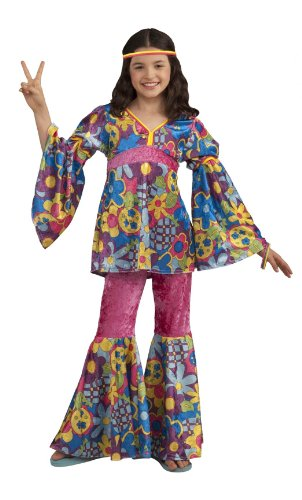 70s Girl (Forum Novelties Deluxe Designer Collection Flower Power Costume, Child Medium)