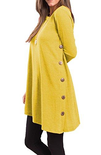 Yellow Tunic Dress (iGENJUN Women's Long Sleeve Scoop Neck Button Side Sweater Tunic Dress,XXL,Yellow)