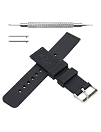 CIVO Quick Release Silicone Watch Bands Soft Rubber Watch Strap Smart Watch Band Stainless Steel Buckle 18mm 20mm 22mm (Black, 20mm)