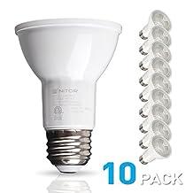 NITOR Lighting PAR20 LED Bulb, 6W (50W Equivalent Incandescent), Dimmable, 2700K Warm White Light, E26 Base, Spotlight, 40° Beam Angle, Energy Star, UL (10 Pack)