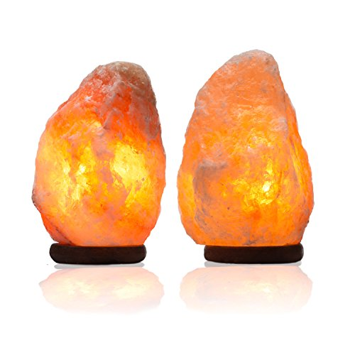 Essence Of Himalaya Salt Rock Crystal Himalayan Lamp With Neem Wood Base | Dimmable Switch To Control Brightness | Purify Breathing Air, Emit Negative Ions, Calm Allergy Symptoms. 6-8 lbs Pack of 2