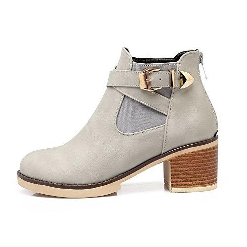 AgooLar Women's Round-Toe Zipper Kitten-Heels PU Solid Boots Gray D07zwwPKd