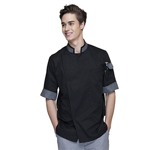 Cheflife Men's Black Unisex Chef Uniforms Short Sleeve Chef Coat US:L/Tag:XXXL - Executive Black Jacket