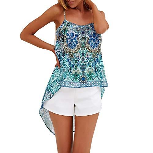 Irregular Choice Suede Heels - Aunimeifly Woman's Irregular Hem Chiffon Vest Ladies Summer Boho Print Camisole Loose Soft Tank Tops Blue