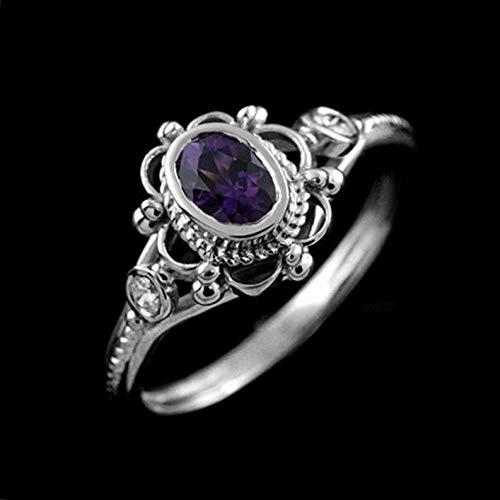 Waldenn Fashion Women Men White Topaz 925 Silver Ring Amethyst Aquamarine Gift Size 6-10   Model RNG - 14146   9 Dark Smoke Forged Leaf