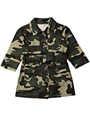 AUESTIE Kids Girl Coat Long Sleeve Camouflage Jacket Knee Outwear Winter Autumn Warm Coat (3-4Y)