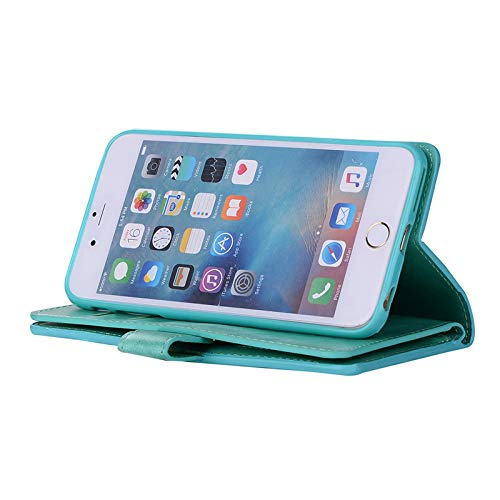 Sammid iPhone 8 Plus Wallet Cover, 5.5 inch iPhone 7 Plus PU Leather Kickstand Case with Card Slot Zipper Hand Strap Protective Cover for iPhone 7 Plus/8 Plus - Green