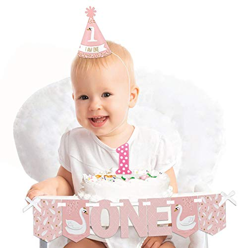 Big Dot of Happiness Swan Soiree 1st Birthday - First Birthday Girl Smash Cake Decorating Kit - High Chair Decorations -