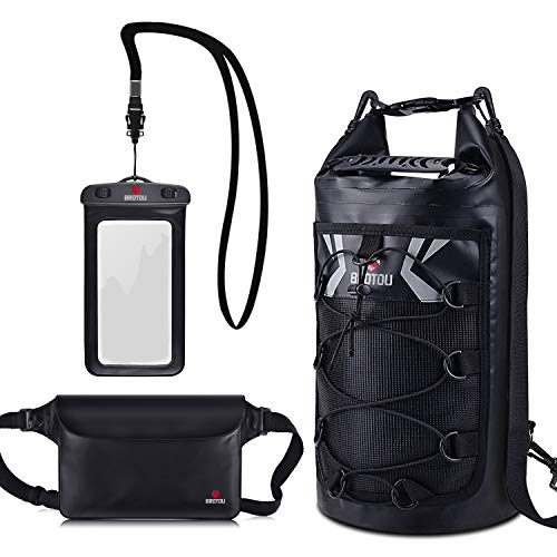 Waterproof Dry Bags Set 10L 20L Waterproof Backpack with 2 Zip Lock Seals & Detachable Shoulder Strap Waist Pouch & Phone Case for Beach, Kayaking, Swimming, Camping Rafting & Boating (10L)