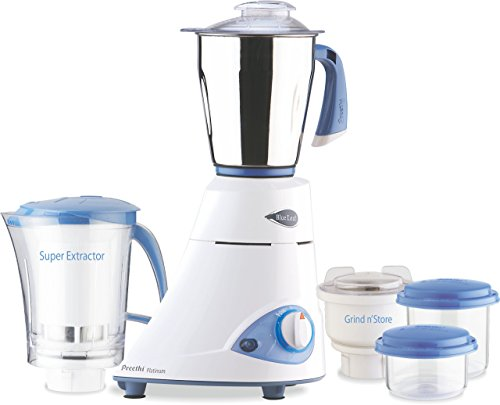 Preethi Blue Leaf Platinum 550 Watts 3 Jar Indian Mixer Grinder 110 Volts (Best Mixie In India)