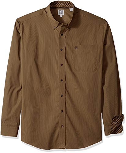 Mens Stripe Shirt Classic (Cinch Men's Classic Fit Long Sleeve Button One Open Pocket Stripe Shirt, Brown, XXL)