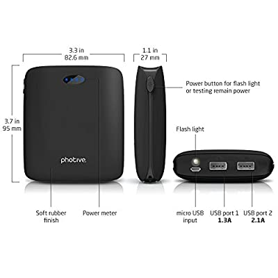 On-The-Go Power Kit For Apple Watch, iWatch, iPhone 5, iPhone 6, iPad Air, iPad mini Includes 12000mAh Dual USB Portable Backup Battery Pack Charger + Photive 25 Watt 5 Port USB Desktop Rapid Charger.