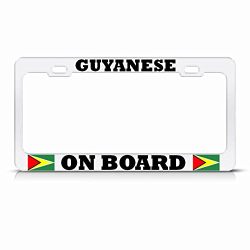 - Moon Guyanese ON Board Guyana Flag White License Plate Frame AUTO SUV TAG Holder Perfect for Men Women Car garadge Decor