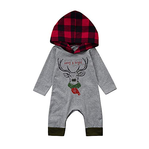 XoiuSyi,Newborn Infant Baby Boy Girl Deer Plaid Hooded Romper Jumpsuit Christmas Clothes Onesies -