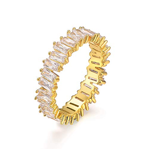 (YOGEME Fashion AAA Cubic Zirconia Rectangle Baguette Ring,Shinning, Thin Band Ring R0329 (Yellow, 7))