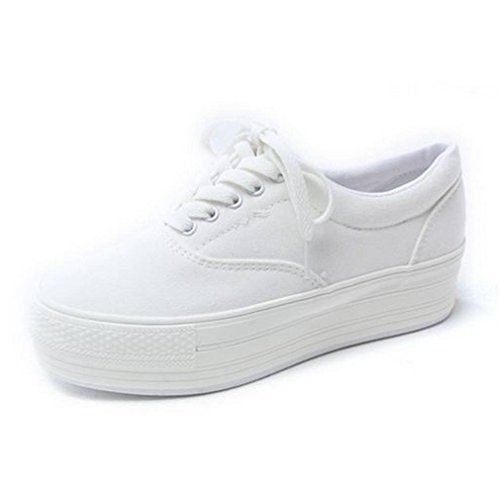 EpicStep Women's White Casual Comfort Simple Canvas Lace Up Thick Soles Shoes Fashion Sneakers Trainers 7.5 M US