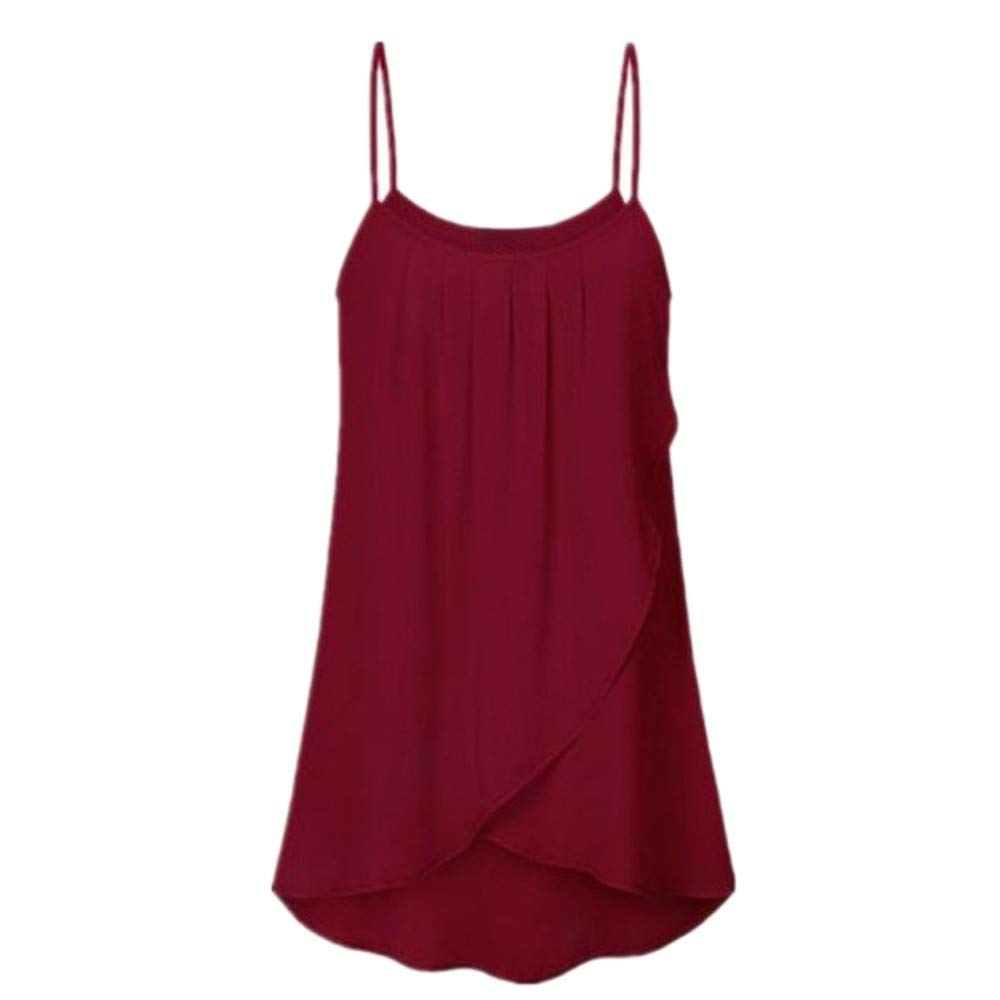 CofeeMO Women's Pleated Round Neck Sleeveless Camisole Blouse Tops,Solid Color Simple Plus Size Loose Tees(Wine,4XL)