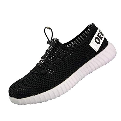UPSTONE Safety Shoes for Men, Work Construction Sneakers, Breathable Lightweight Comfortable Steel Toe Shoes for Women, 127 Black 36