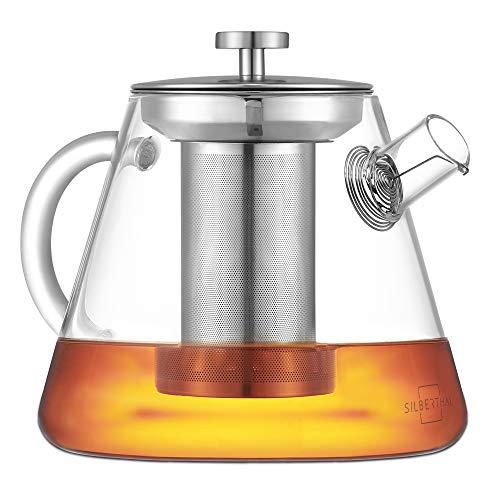 SILBERTHAL Teteras para te | Tetera cristal 1,5 litros | Tetera con filtro extraible | Tetera de cristal con tapa de acero inoxidable | Teapot