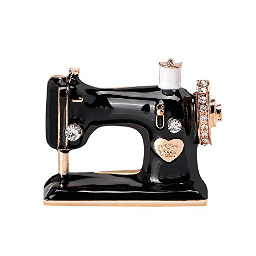 - Topdo 1 Pc Unisex' Vintage Black Rhinestone Sewing Machine Brooch Pin Alloy Enamel Costume Charm Brooches Breastpin