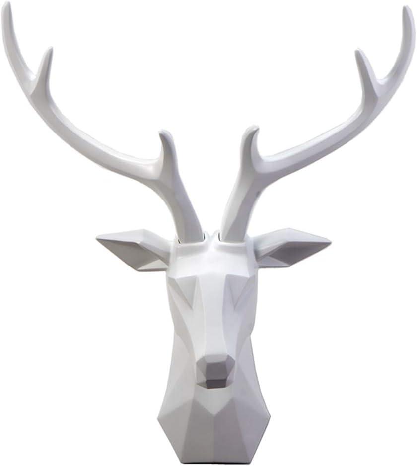 ZAIPP Animal Deer Head Wall Decor,Large Deer Head Bust Wall Hanging Sculpture,False Taxidermy Head Mount Sculpture Home Decor White 50x26x57cm(20x10x22inch)