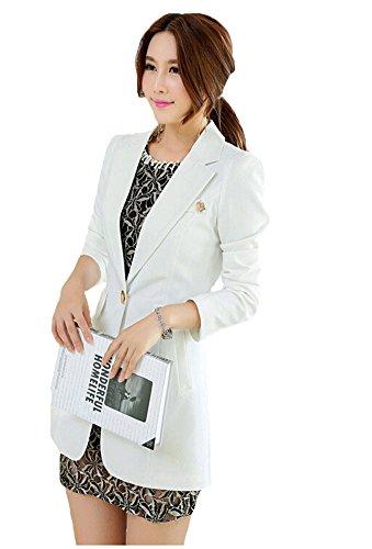 My Wonderful World Women's Basic Solid Slim Fit Blazer Medium White