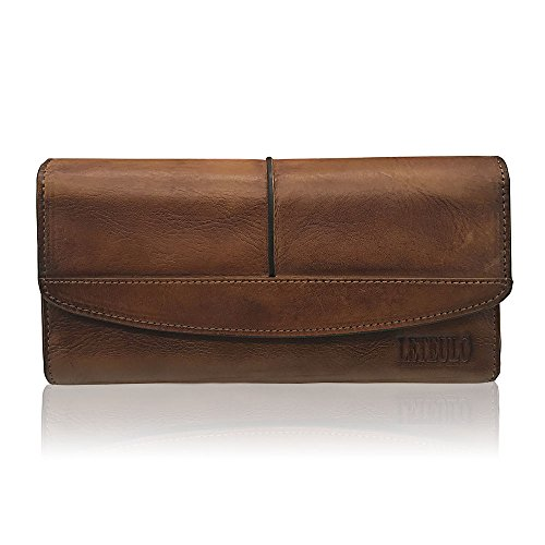 - Womens Wallets Genuine Leather Large Capacity Handmade Card Holder Purse (brown)