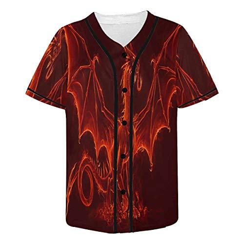 INTERESTPRINT Men's Fire Medieval Dragon Baseball Jersey T-Shirts Plain Button Down Sports Tee 4XL
