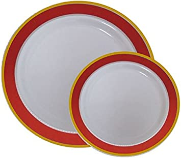 Amazon.com: Desechables de plástico Cena & Platos de postre ...