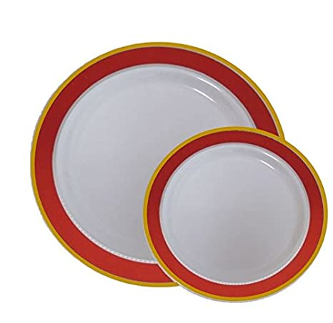 Disposable Plastic Dinner Dessert Plates With Red And Gold Trim 40 Pack    20 7u0026quot