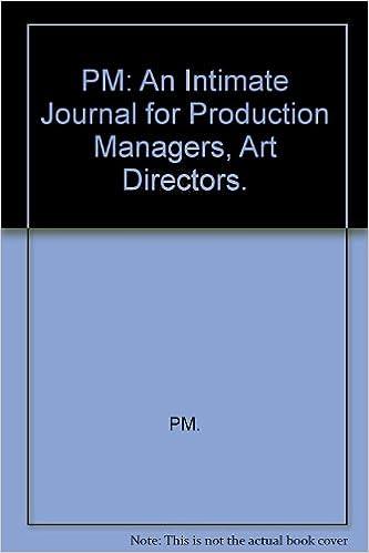 Pm An Intimate Journal For Production Managers Art Directors Leslie Robert L Seitlin Percy Eds Bernhard Lucian Design Lieberman Frank Art Books