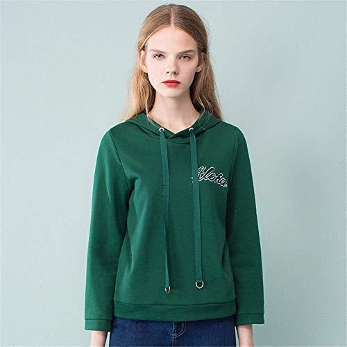 Oscuro Las Bordado Capucha De Con Manga Sudaderas Cabeza Sweatshirt Corto La Manual Larga Mujeres Verde Mujer Desgaste Sdf Suéter ARwUpxx